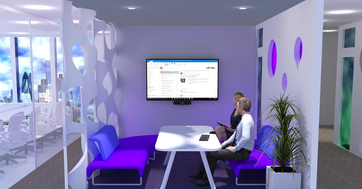 Video conferencing helps expand the reach of a modern huddle space.